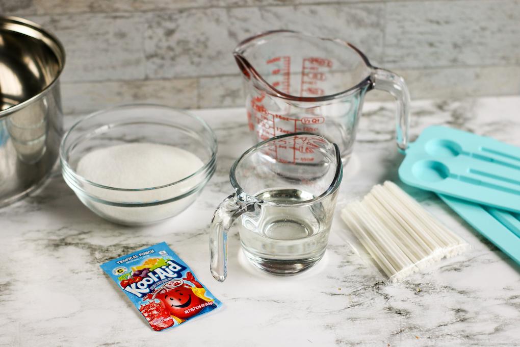 Ingredients for kool-aid lollipops