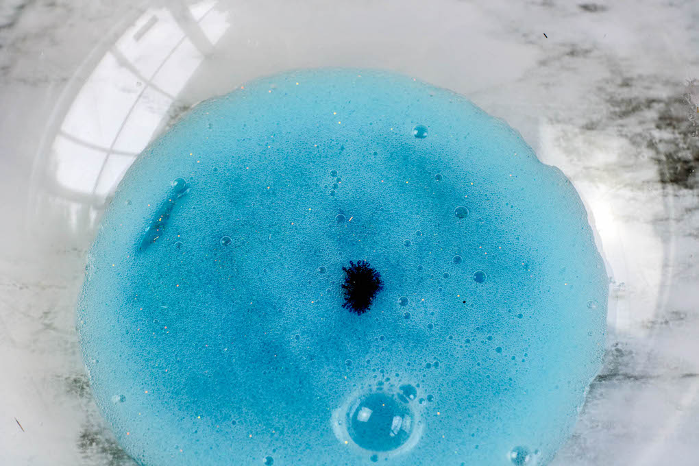 blue dye added to slime