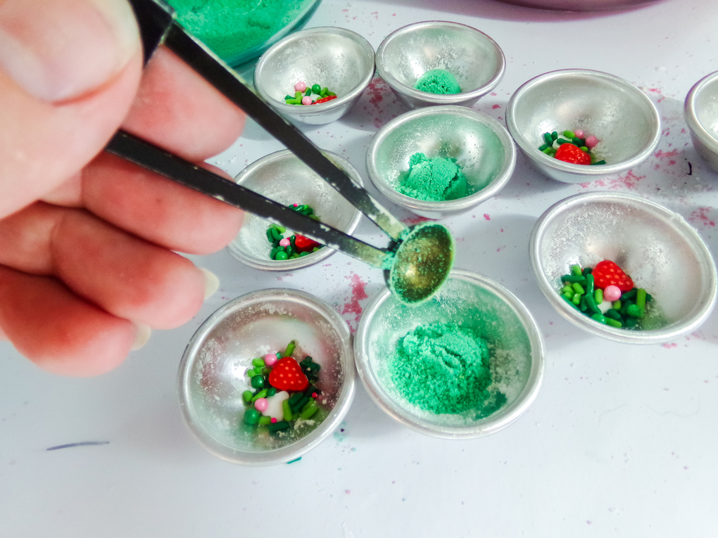 Green mica powder and sprinkles in molds