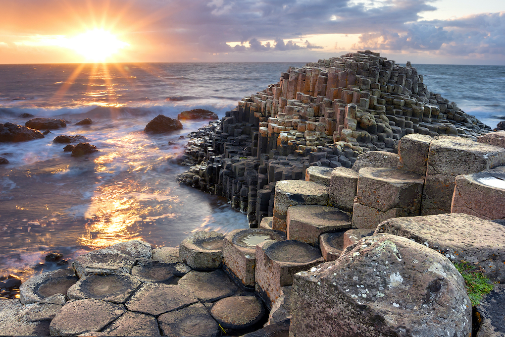 Sunset at Giant's Causeway in Northern Ireland