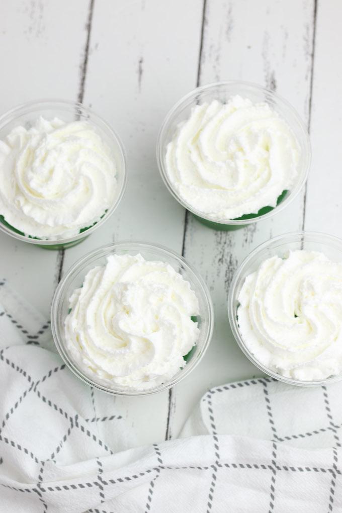 green jello cups with whipped cream