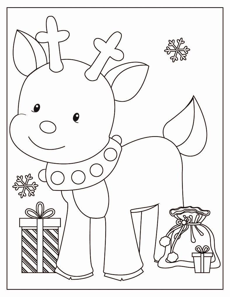 Christmas drawing of a reindeer with presents