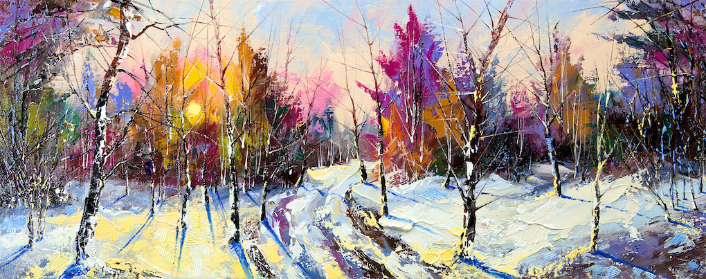 Painting b an artist of sunset in winter wood